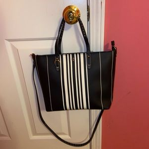 Brand-new Tory Burch black and cream striped bag!